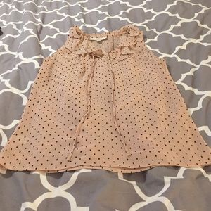 Sheer peach dotted top from LOFT size XS