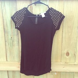 Say What? Tops - ☀️SALE☀️ Black & Gold Studded Top 🌻