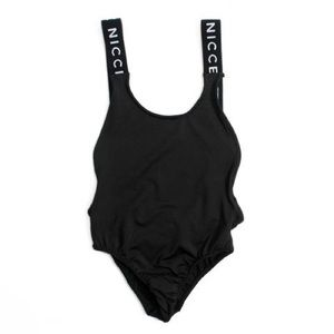 ASOS Other - NWT NICCE Black Low Back Logo Tape Bodysuit Sz M