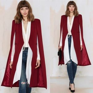 Lavish Alice  Jackets & Blazers - Lavish Alice On the Fly Cape Jacket - Burgundy