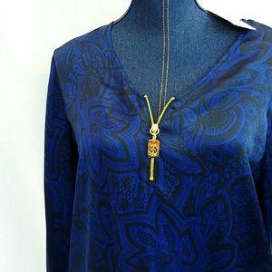 Michael Kors Tops - 🏮New MICHAEL KORS 8 Zipper Blouse Top Blue