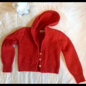 Browser Sweaters - Little Red Ridding Hood Vntg Red wool crop hoodie