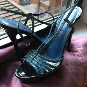 Yves Saint Laurent Shoes - YSL Blue Leather Strappy Peep Toe Platform Heels
