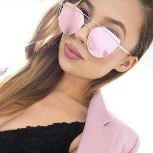 Accessories - ROSE gold Pink MIRRORED Reflective AVIATOR SUNGL