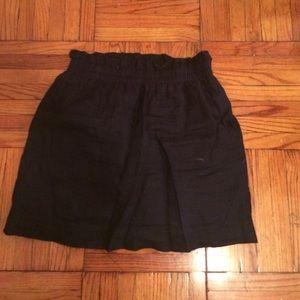 J crew navy linen mini skirt