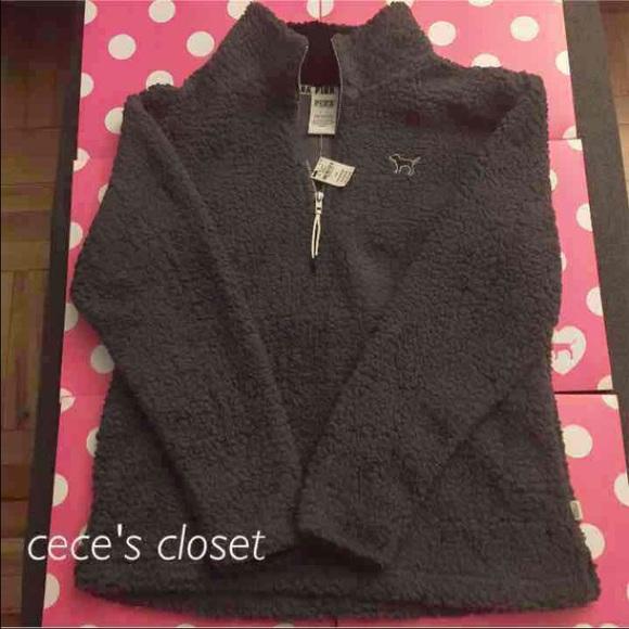 Pink Victorias Secret Sweaters Vs Pink L Boyfriend Sherpa Quarter