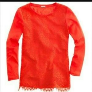 J. Crew Crochet Lace Front Tee