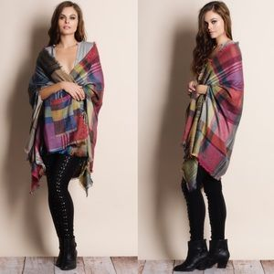Multicolor Plaid Shawl Wrap Cardigan
