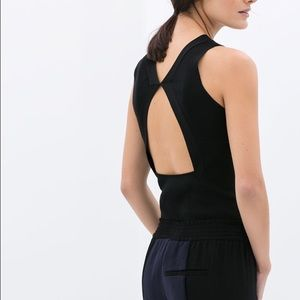 Knit top with open back