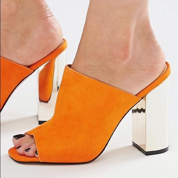 2c9de30a366 New orange suede slide mules mirrored heels