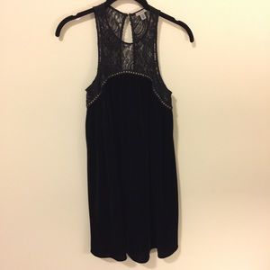 Ecote Dresses & Skirts - Ecote Black Lace Velvet Studded Babydoll Dress