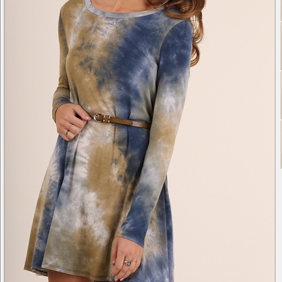 52439a4c885 Umgee Tie Dye Olive   Navy Tunic Top Dress