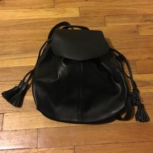 Zara Handbags - drawstring black leather backpack
