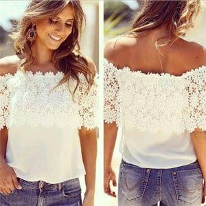 Off Shoulder White Floral Top