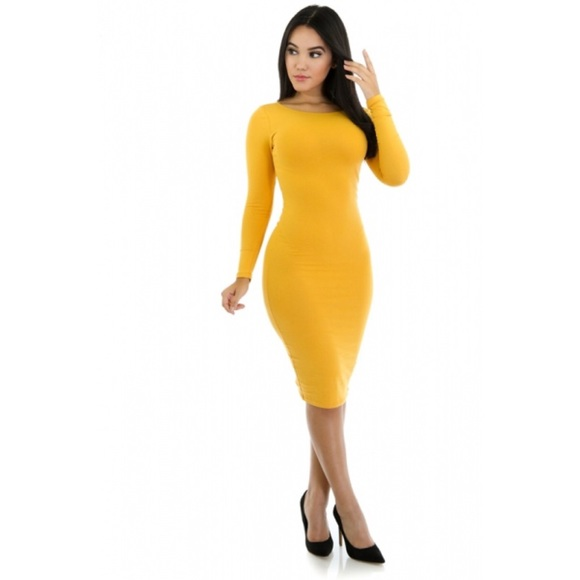 2502a235ab3f Dresses   Skirts - Mustard long sleeve bodycon dress