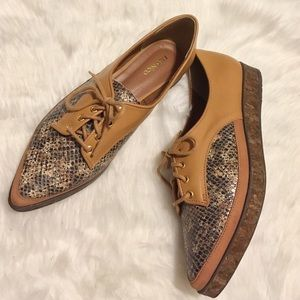 Anthropologie Shoes - 😎Anthro😎 cork platform lace up oxfords