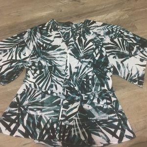 Palm leaf print top