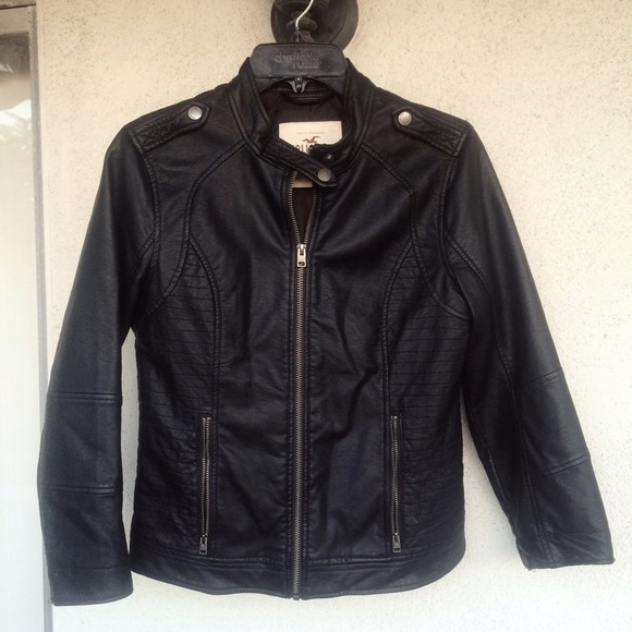 hollister black leather jacket