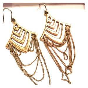 Fashion Gold Earrings Chain Accents Just Reduced