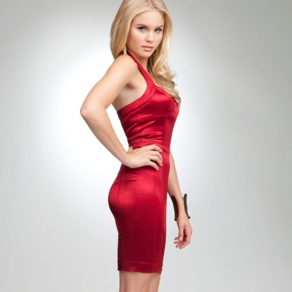 9ce3142a9739d bebe Dresses   Skirts - Bebe red satin bodycon racerback halter midi dress