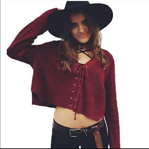 d52292dccd LF Sweaters - LF STORES MAROON RED LACE UP SWEATER M