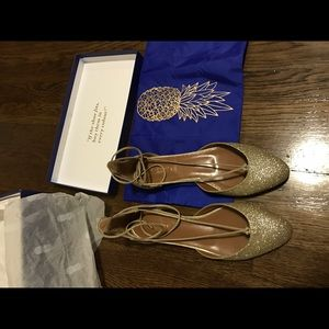 Aquazzura Shoes - Aquazurra New 2016 Laced Gold Glitter Flats