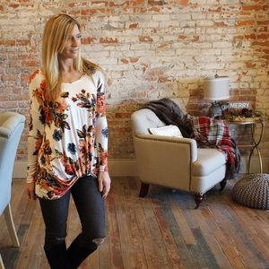 Ivory floral front knot tunic