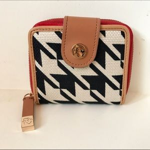 Spartina 449 Handbags - Spartina 449 Houndstooth Red & Leather Wallet