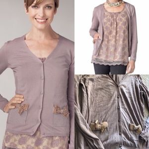 CAbi Sweaters - Cabi dusty lilac bow cardigan purple button belle