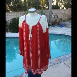 EMBROIDERED Red/WHITE BOHO DRESS Small & Large