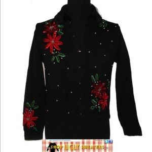Black Holiday Poinsettia sweater #171