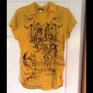 South Pole Tops - 2 for $20 Mustard Graphic Polo Tee
