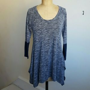 Sophie Max Tops - Heather Blue Flattering Tunic Top