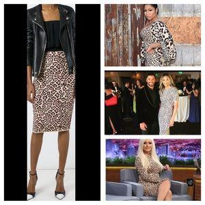 Givenchy Dresses & Skirts - NWT Givenchy Jaguar Print Pencil Skirt Blk/Pnk/Tan