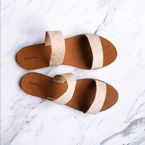 896c36b10 Merona Shoes | Target Twostrap Tan Slide On Sandals | Poshmark