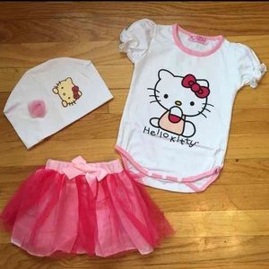 Other - Kitty Onesie Tutu and Beanie 6-9M