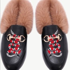Vegan leather faux fur lined slipper with snake