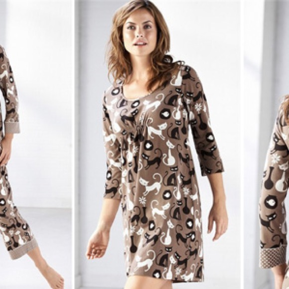 Soma Intimates & Sleepwear | Mod Cat Night Shirt Gown Retro Kitty M ...