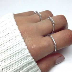 Jewelry - Sterling Silver Cubic Zirconia Bar Ring