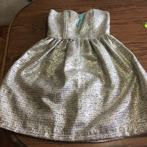 ModCloth strapless gold dress size large