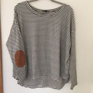 Tops - Striped long sleeve with suede elbow patches.