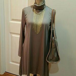 Gray/olive turtleneck dress NWOT