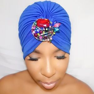 Accessories - Royal Blue Enbrooched Turban