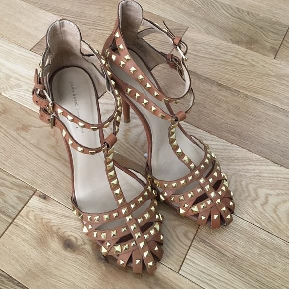 ac101a68630 Zara brown  tan studded heels. M 582f39ad9c6fcf06fb02f1d9