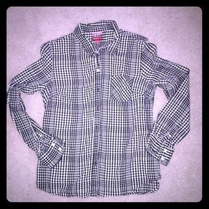 Merona Tops - Black and White Checked Button Up