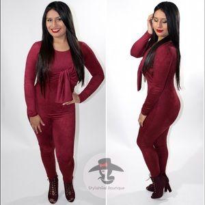 StylishGal Boutique Pants - Suede Burgundy Jumpsuit