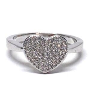 Jewelry - Sterling Silver Heart CZs Ring