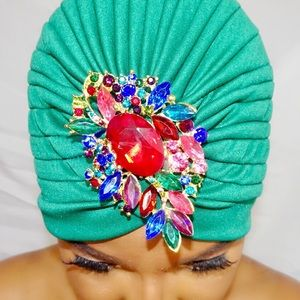 Accessories - Green Brooches Turban