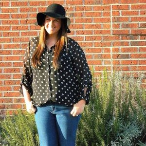 Old Navy Tops - Old Navy Black and White Polkadot Button Up