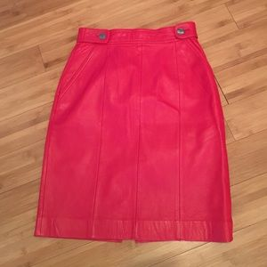 Vintage Marie Ellyse red leather skirt